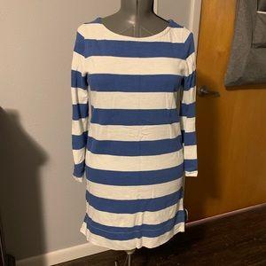 EUC J Crew Cotton Blue/Cream stripe dress sz S